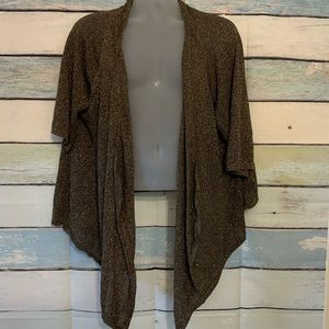 Open Front Metallic Gold Drape Cardigan